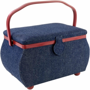 Sewing Basket Rectangle Denim W/Red Trim